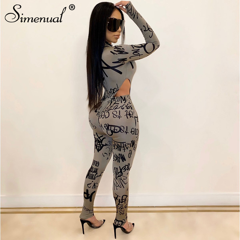 Simenual Letter Print Skinny Women Matching Set Long Sleeve Fashion Sexy Two Piece Outfits Bodycon Hot Bodysuit And Pants Sets