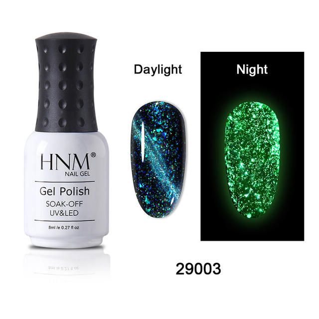 HNM 8ML Fluorescent 3D Cat Eye Gel Nail Polish UV LED Soak Off Fluorescent Varnish Primer Long Lasting Glow In Dark Gel Polish 2