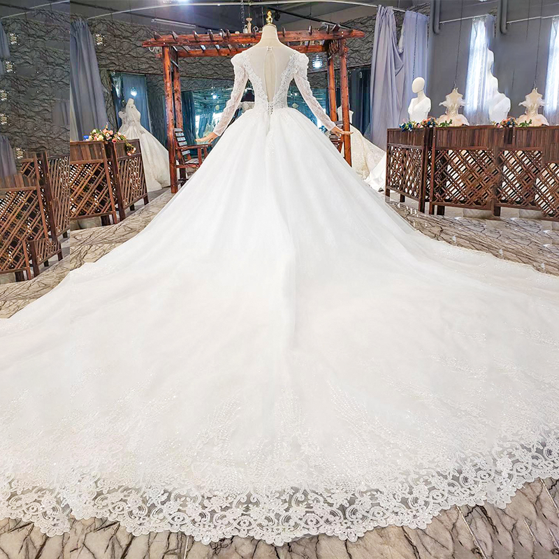HTL1821 Luxurious Sequined Beading Crystal Fiowers White Wedding Dress 2020 V-Neck Long Sleeve Ball Gowns 2