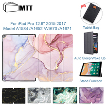 MTT Marble Case Cover For iPad Pro 12.9'' 2015 2017 Release PU Leather Flip Stand Cover Protective Tablet Case Auto Sleep/Wake protective flip open pu case w stand auto sleep for 8 asus fonepad 8 fe380cg red