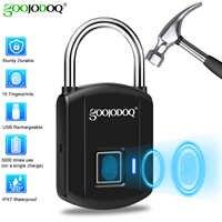 GOOJODOQ Smart-Fingerprint Lock USB Ladung Vorhängeschloss Metall Sicherheit Keyless Wiederaufladbare Elektrische Türschloss für Rucksack Gepäck