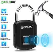 GOOJODOQ Smart Fingerprint Lock lucchetto di ricarica USB sicurezza in metallo serratura elettrica ricaricabile senza chiave per bagagli zaino