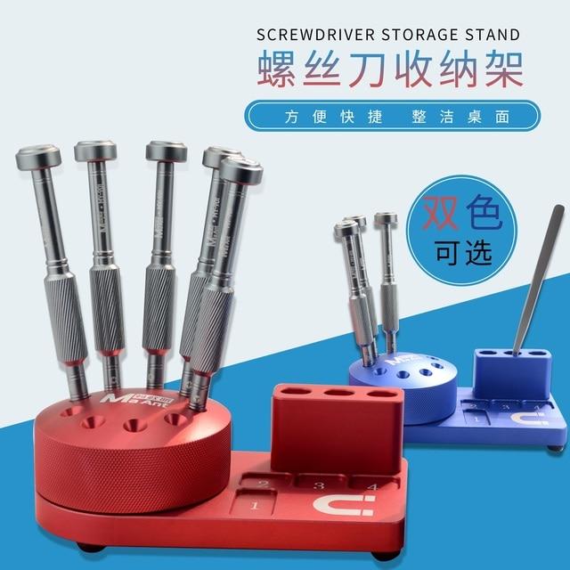 Caja de almacenamiento de herramientas con destornillador magnético multifunción, componentes, clasificación de caja de piezas, soporte de destornillador, estante de almacenamiento de escritorio