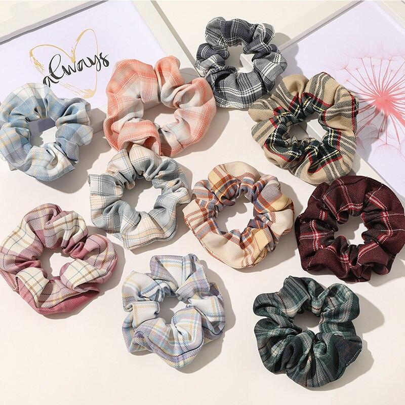Купить женские цветочные клетчатые резинки для волос винтажные универсальные