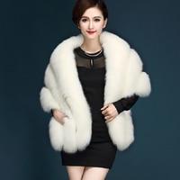 2019 Fur lmitation Fox Fur Hair Capes Cape Coat Black Poncho Women Cape Armor Cape Woman Belt Pocket Ponchos And Capes