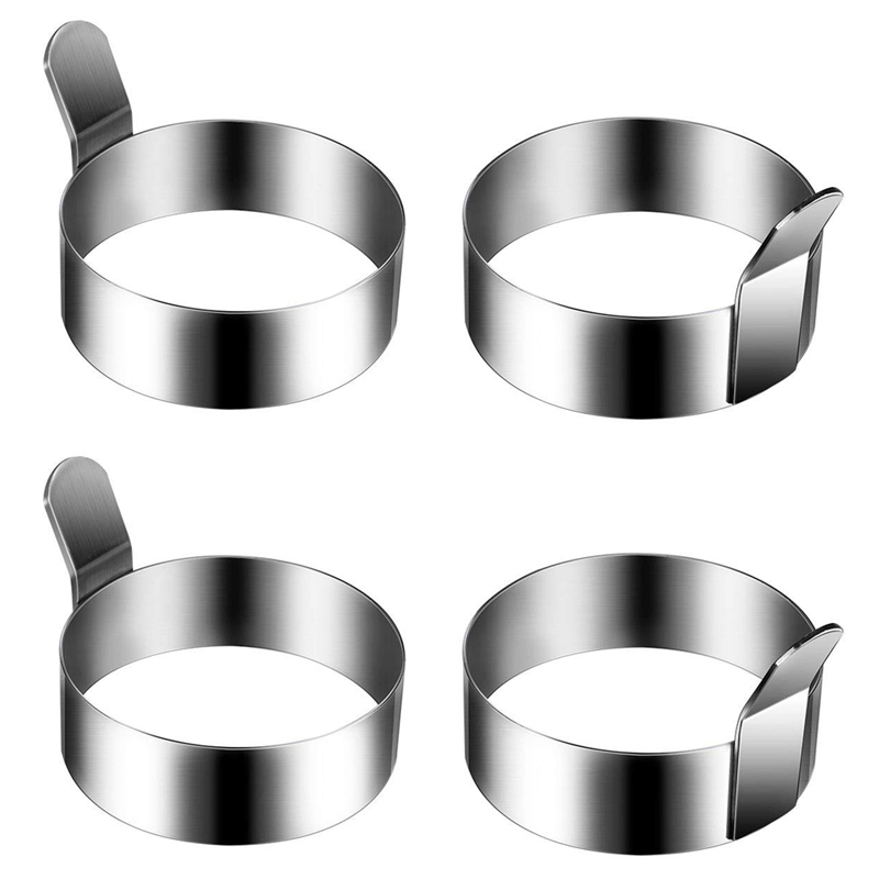 4 Pieces 3.5 InchStainless Steel Round Pancake Ring Egg Ring, Non-Stick Omelette Mold, Pancake Making Mold, Breakfast Egg Sandwi