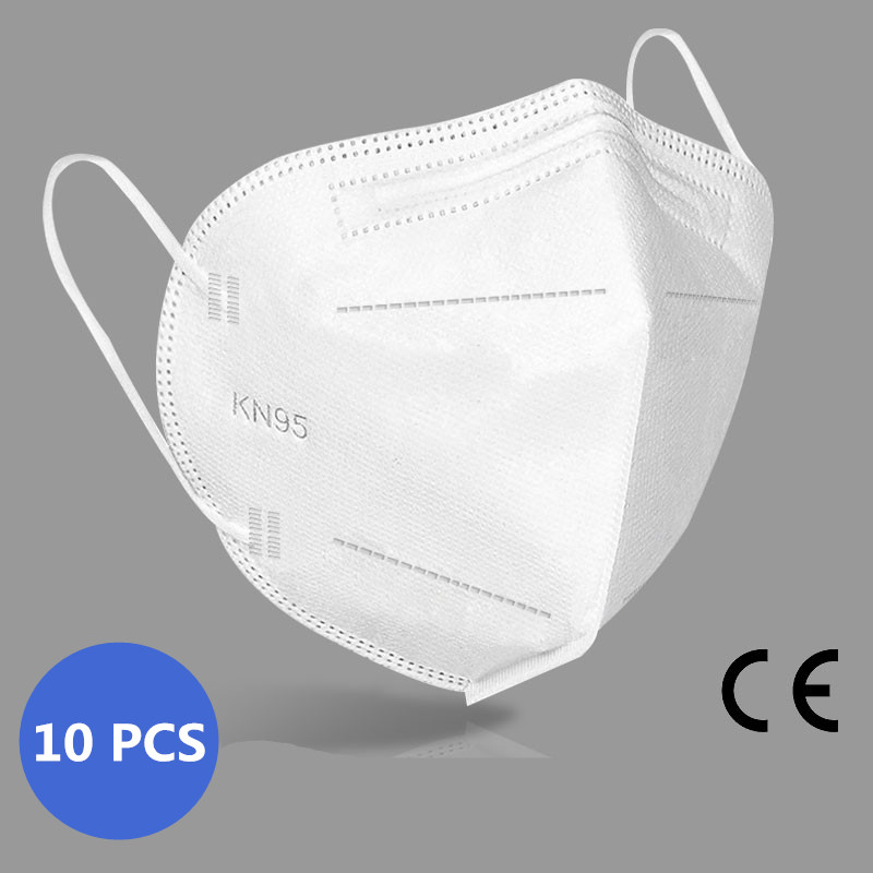 10Pcs White 5-Layer kn95 Face Mask 95% Filtration Mouth Mask Anti Dust Pollution PM2.5 Dustproof Protective Mask