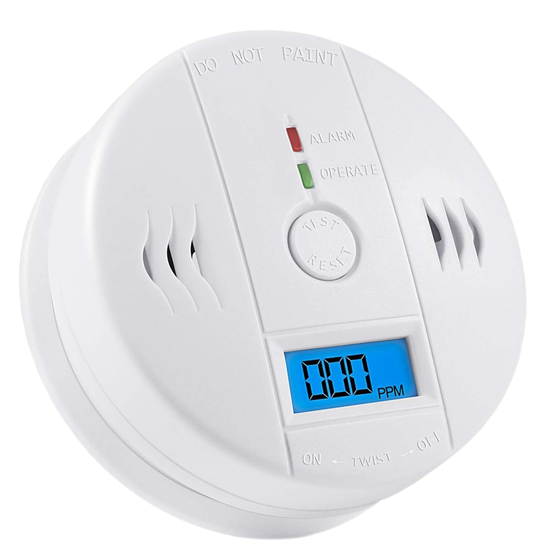Carbon Monoxide Gas Detection,Co Detector Alarm Lcd Portable Security Gas Co Monitor,Battery Powered,Alarm Clock Warning 9V Bat