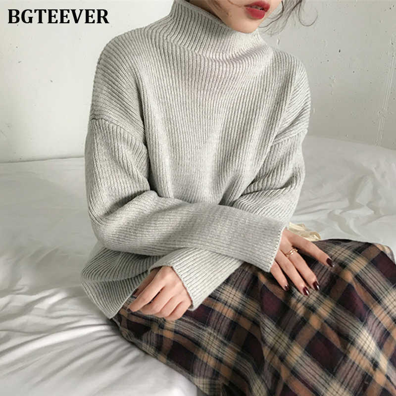 BGTEEVER Casual Turtleneck Thicken Knitted Sweater Women Jumpers Long Sleeve Knitted Tops 2019 Winter Sweater Pullover Female