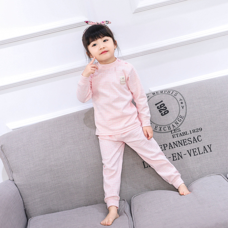 Children Boys Girls Pajamas Suit Long Sleeved Cotton Clothes Infant Baby Combed Cotton Underwear Set Kids Autumn Winter Pijama 1