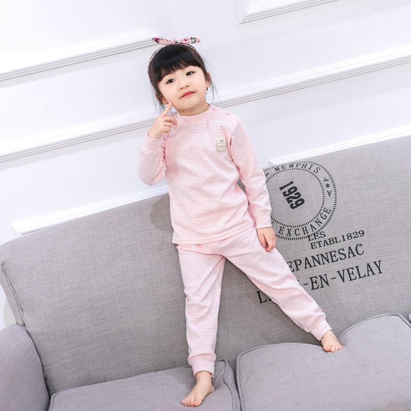 Children Boys Girls Pajamas Suit Long Sleeved Cotton Clothes Infant Baby Combed Cotton Underwear Set Kids Autumn Winter Pijama 1