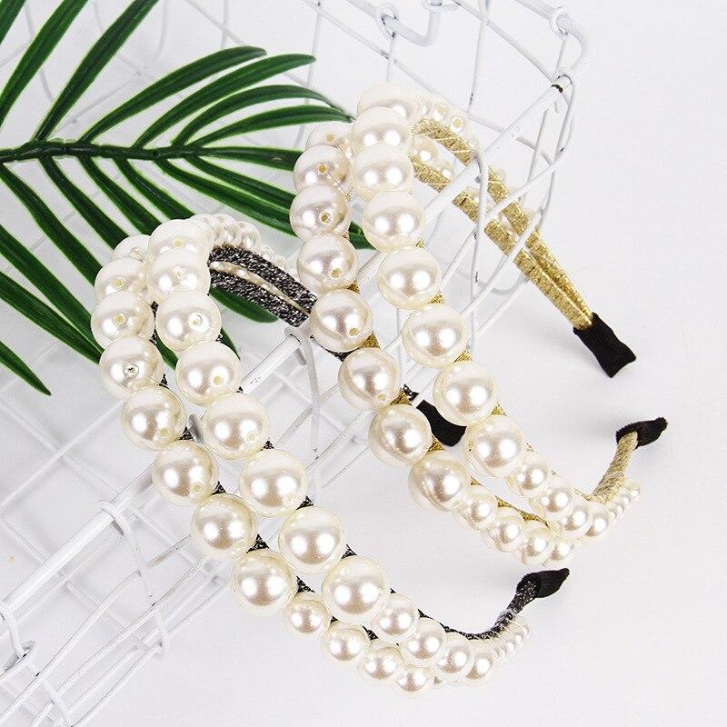 Baroque Big Pearls Headbands for Women Double Layer Hairband Elegant Lady Hair Hoop Bezel Hair Ornament Fashion Hair Accessories