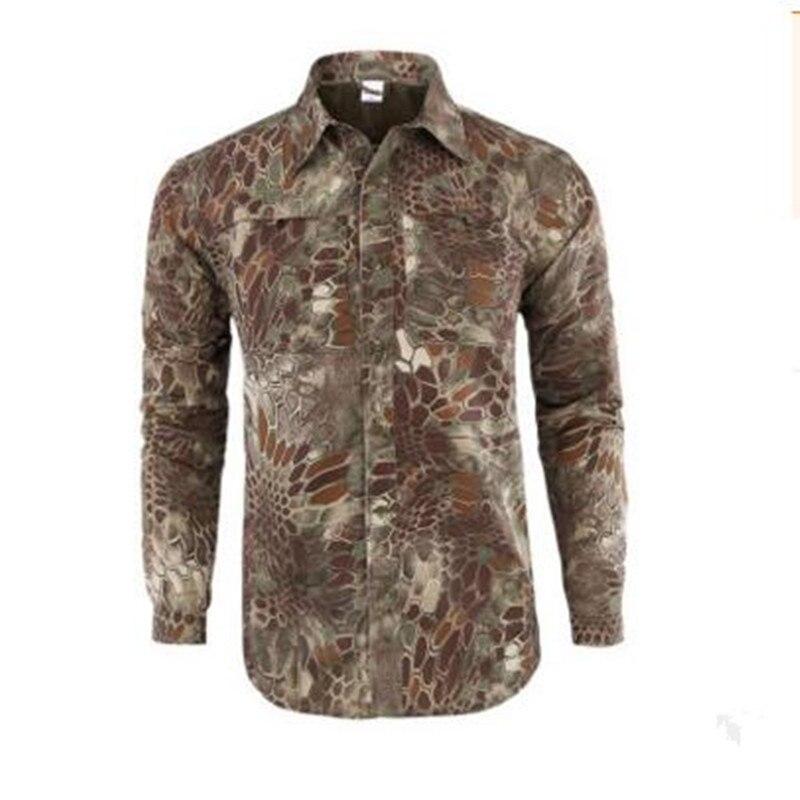 Мужская быстросохнущая рубашка на открытом воздухе Съемная с длинным/коротким рукавом дышащая походная Военная Маскировочная рубашка Спортивная одежда - Цвет: green Camouflage