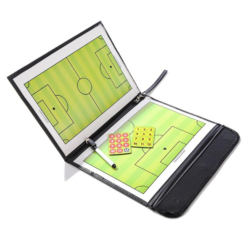 New Foldable Football Tactic Board Coaching Board Magnetic Soccer Coach Tactical Plate Book Set With Pen Clipboard Ball Supplies