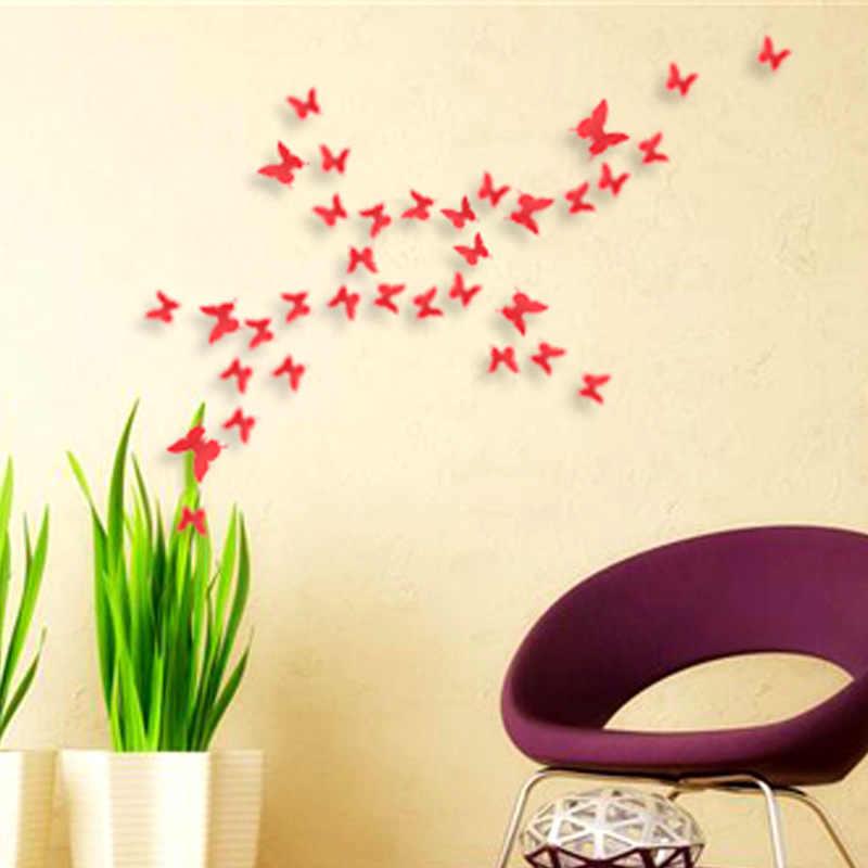 12 Uds 3D hueco mariposa de oro de la pared pegatinas de calcomanías de nevera brillo murales de arte para la pared o decoraciones de fiesta