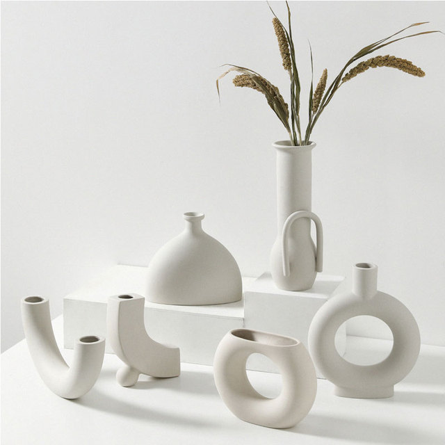 Nordic Ins Ceramic Vase Home Ornaments White Vegetarian Creative Ceramic Flower Pot Vases Home Decorations Craft Gifts 2