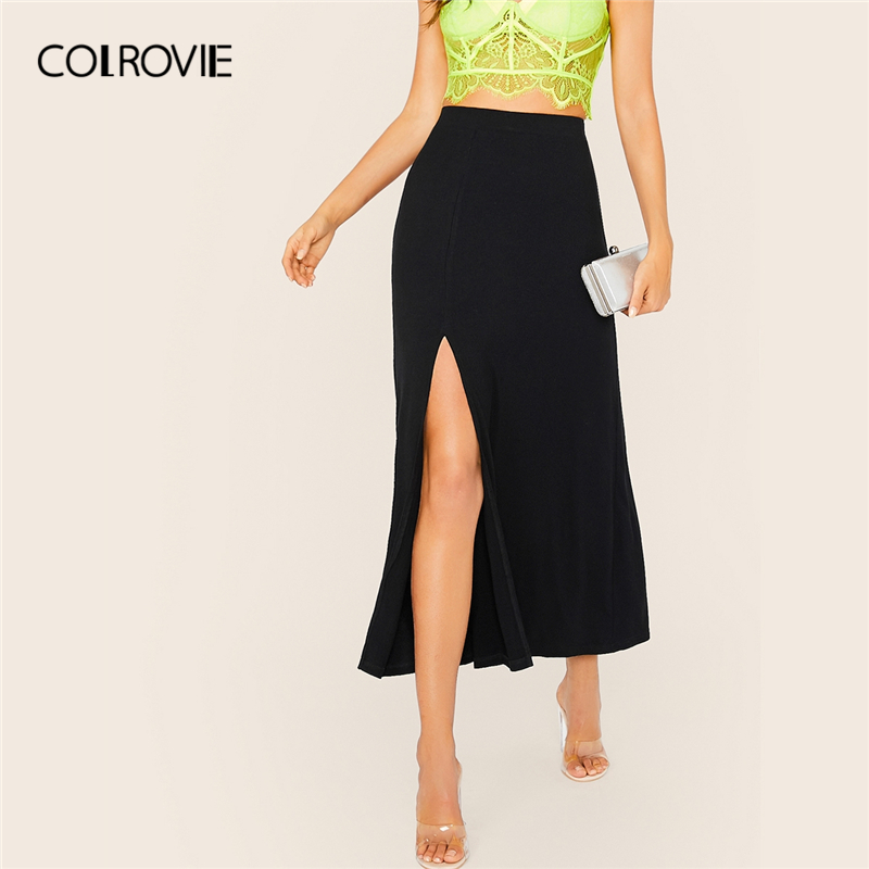 COLROVIE Black Rib-knit Slit Side Skirt Women 2019 Fashion Fall Ladies Casual Long Skirt Sexy Stretchy Solid High Waist Skirts