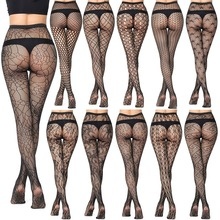 5 pairs New Arrival Thin Women Pantyhose Sexy Hollow Solid Fishnet Tights Clothes For Women Black Tights Lace Sexy Lingerie