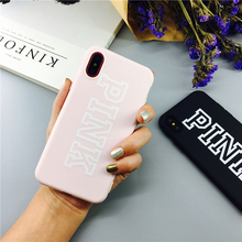 Fashion Lucky Pink letter Cover Case For iPhone 8 7 6 6s Plus 11 Pro XS MAX XR X Luxury 3D Emboss Simple PINK Silicon Soft Coque