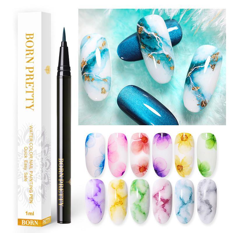 BORN PRETTY акварельные чернила для ногтей ручка Цветущий лак для дизайна ногтей красота 1 мл Лак для дизайна ногтей 12 цветов s