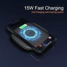 Cargador inalámbrico para Samsung Note 20, cargador inalámbrico rápido de 15W con ventilador de refrigeración, almohadilla de carga inalámbrica Qi para iPhone 11