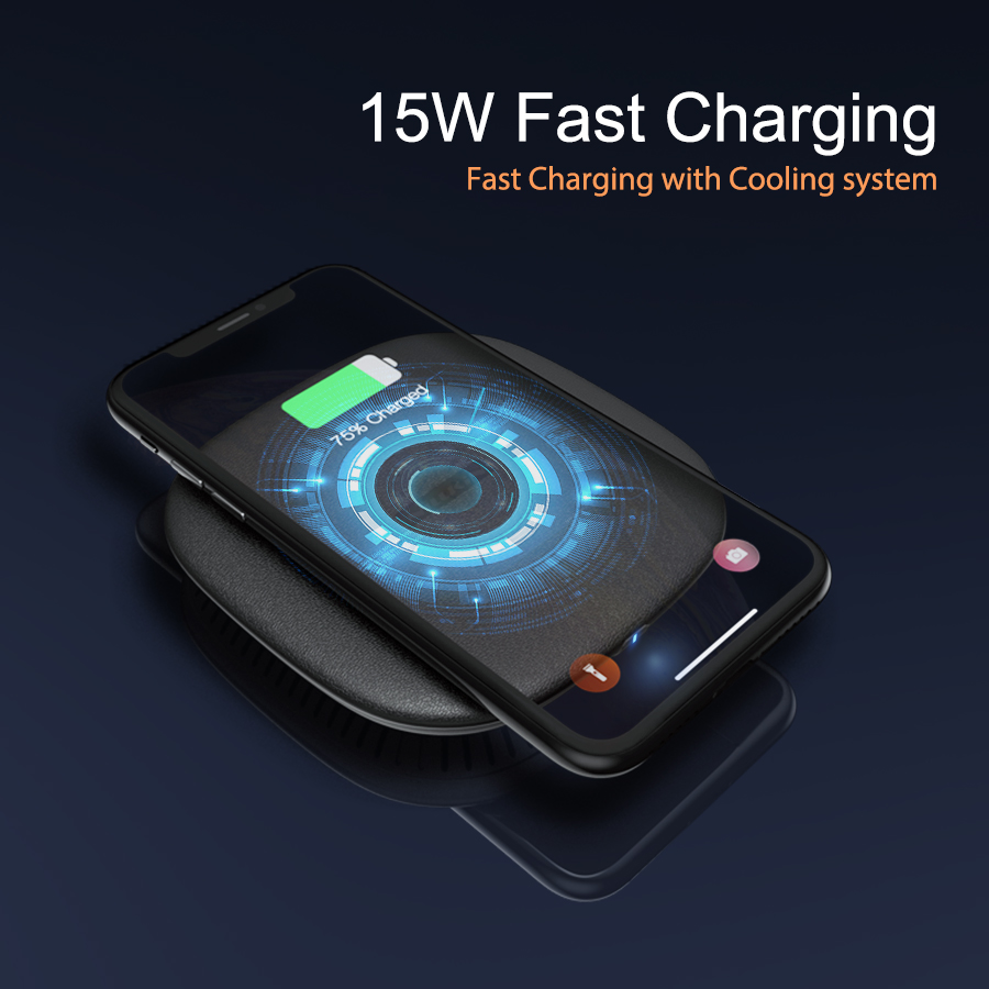 Wireless Charger, Fast Wireless Charger 15W With Cooling Fan, Qi Certified Wireless Charging Pad For IPhone 11/11 XS X 8 Plus