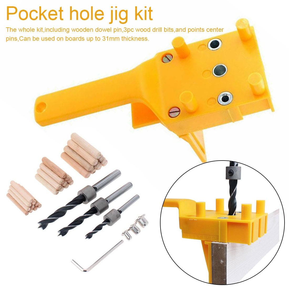 Doweling Jig 6/8/10mm Handheld Pocket Hole Jig Set Woodworking Wood Dowel Self-Centering Puncher Drill Guide Locator Jig