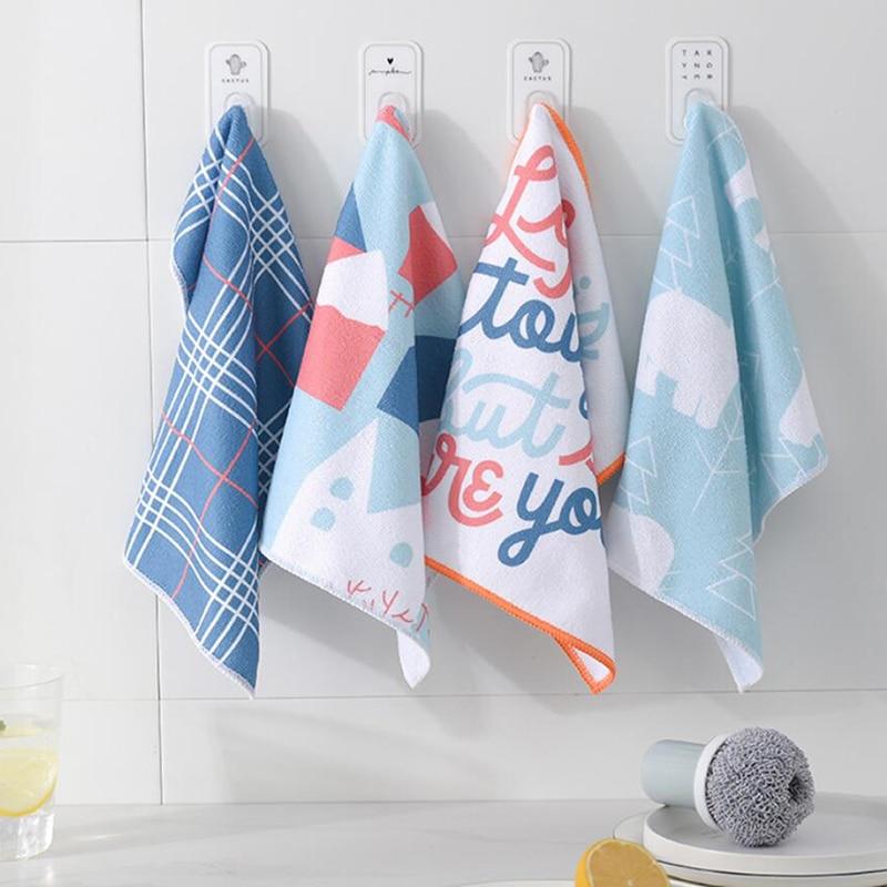 4 шт./компл. мягкий полиэстер кухня блюдо ткань с высокой пропускной способностью посуда домашнее полотенце для уборки кухонный инструмент ...