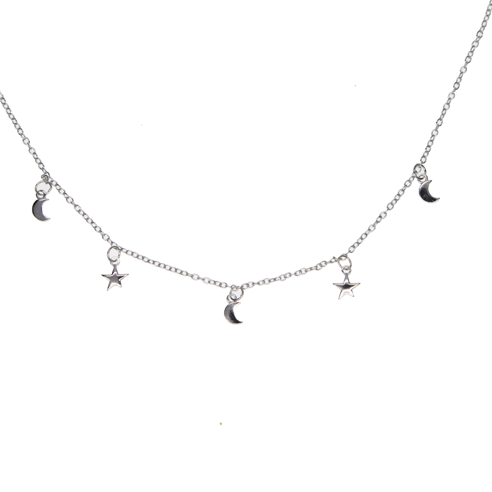 2019 simple 925 sterling silver moon star dangle charm choker short necklace with rhodium plated for women wedding jewelry