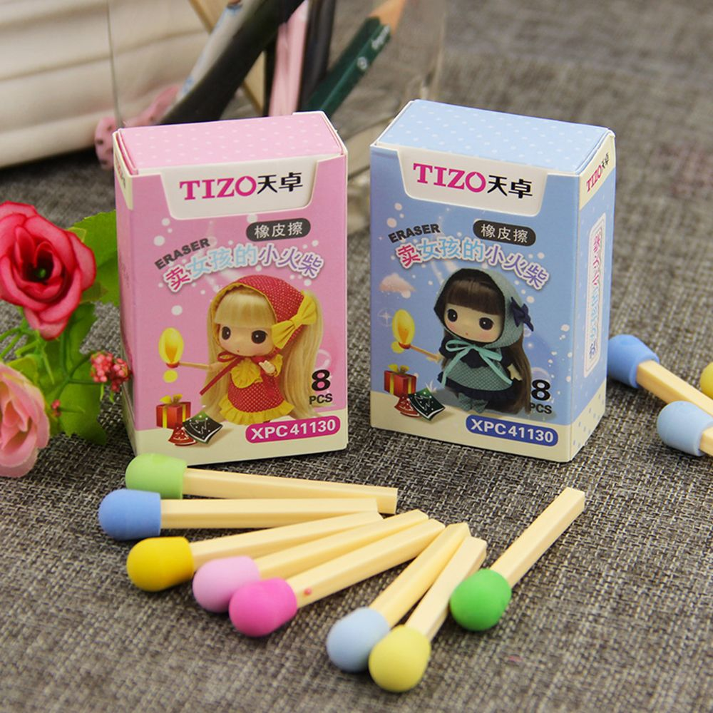 8 Pcs / Box Cute Kawaii Matches Eraser Lovely Color Eraser For Children Students Kids Creative Gift Item School  Stationery