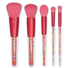 5Pcs Candy Macaron Red Makeup Brush Set Fresh Color Foundation Brush Loose Powder Brush Eye Shadow Brush Set  Cosmetics Beauty цена