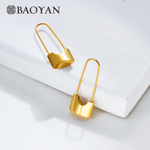 BAOYAN Minimalist Gold Stud Earrings Wholesale Imitation Lock Paperclip Fashion Stainless Steel For Women