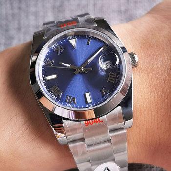 36mm polerowany automatyczny zegarek męski szczotkowana bransoletka Oyster MIYOTA 8215 ruch szafirowa niebieska tarcza tanie i dobre opinie PaGeFelix 5Bar CN (pochodzenie) Zapięcie bransolety simple Mechaniczna nakręcana wskazówka Samoczynny naciąg 22cm STAINLESS STEEL