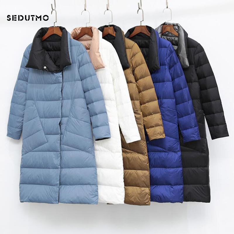 SEDUTMO Winter Plus Size 3XL Womens Down Jackets Ultra Light Long Coat Thin Double Sided Spring Slim Puffer Jacket ED930