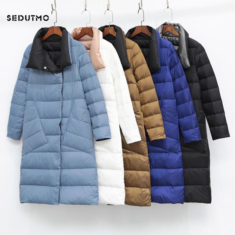 SEDUTMO Winter Plus Size 3XL Womens Down Jackets Ultra Light Long Coat Thin Double Sided Spring Slim Puffer Jacket ED930