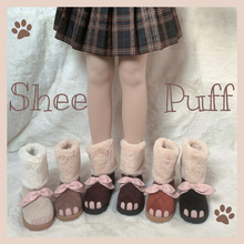 Women Shoes Snow-Boots Girl Vintage Sweet Cute Kawaii Round Winter Head-Plus Cashmere