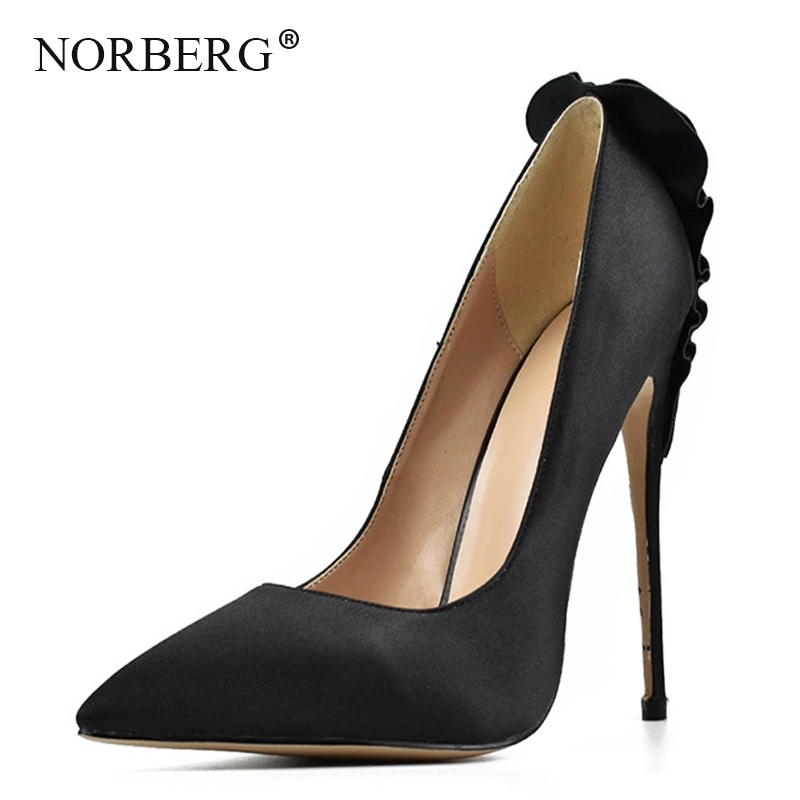 NORBERG fashion women's high heels brand office comfortable high heels black pointed <font><b>sexy</b></font> stiletto women's <font><b>shoes</b></font> <font><b>large</b></font> <font><b>size</b></font> image