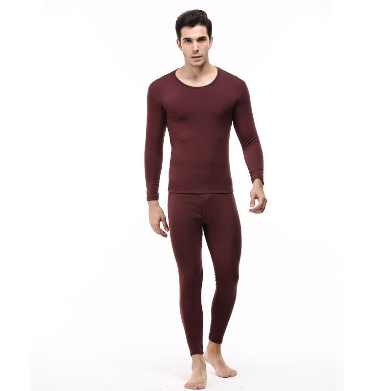 Winter Men Fashion Thermal Underwear Slim Fit Crew Neck Solid Color Underwear Autumn Two Piece Set-