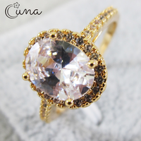 Exquisite Gold Round Crystal Ring Women's Simple Style Engagement Finger Love Ring Ladies Fashion Wedding Ring Jewelry Gift