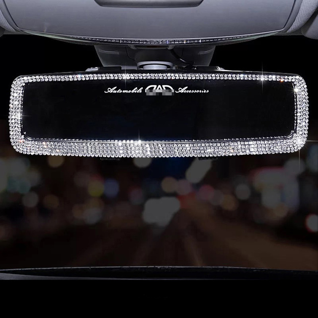 Hot Rhinestone Car Interior Rearview Mirror Decor Charm Crystal Bling Diamond Ornament Rear View Mirror Cover Auto Accessories 1