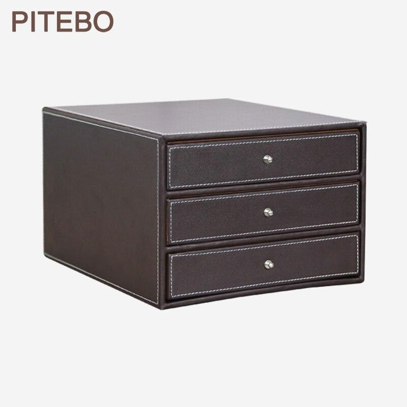 Ящик из дерева и кожи PITEBO, офисный Настольный органайзер для хранения документов формата А4 с 3 ящиками, черный контейнер