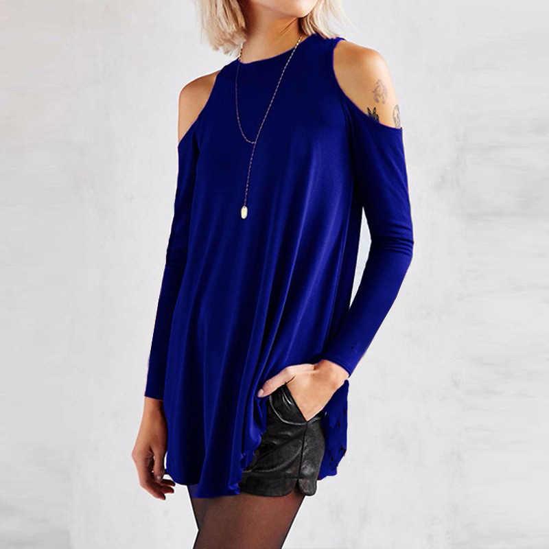 Zanzea 2020 Wanita Kasual Blus Spring Fashion Off Bahu Top Panjang Lengan Kemeja Wanita Blusas Plus Ukuran Dasar tunik 5XL