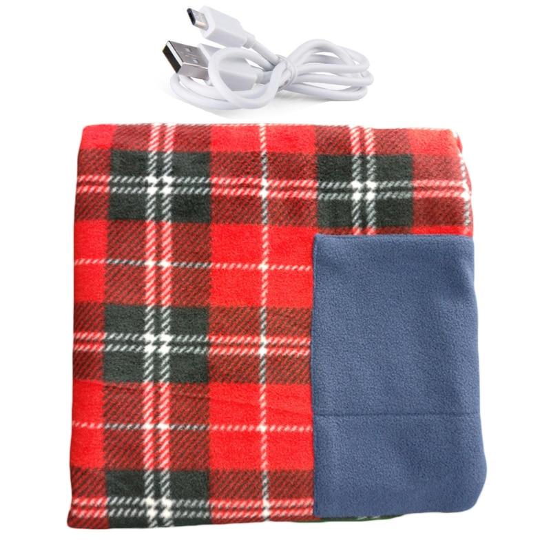 Portable 5V Electric Heated Car Van Winter Warm Blanket Plaid Cover Heater Mat