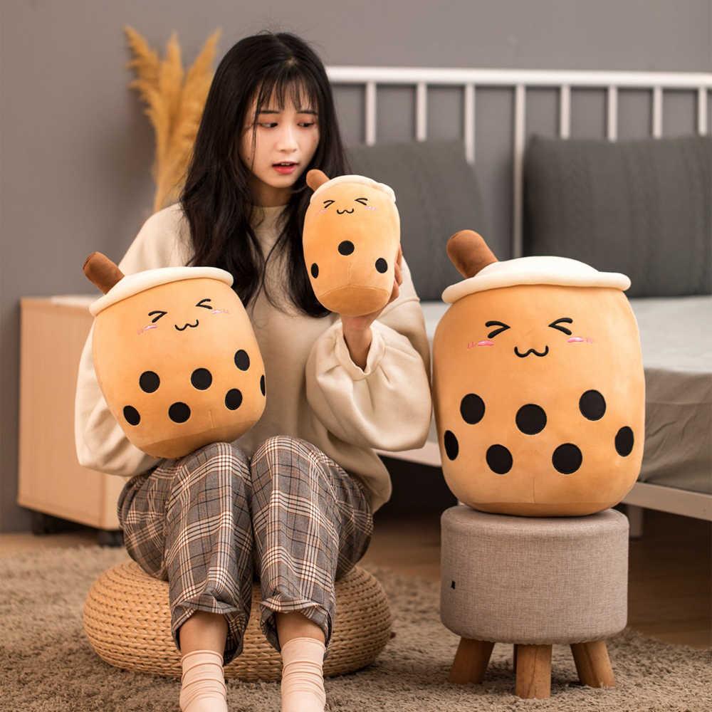 35cm de dibujos animados lindo de té de burbuja en forma de taza almohada de peluche de felpa juguetes de peluche muñeca suave cojín trasero gracioso Boba juguetes para los niños