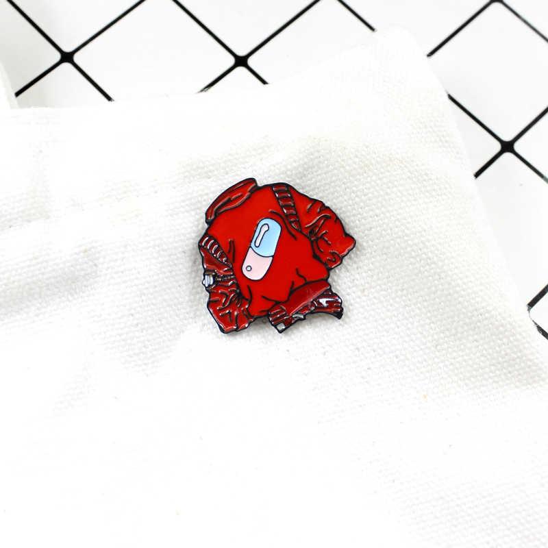 Yaratıcı sevimli kırmızı kot ceket sırt çantası yaka emaye rozeti pin kulübü hap kapsül kalem rozeti arkadaş fan takı hediye