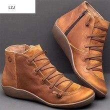 LZJ г. Женские зимние ботинки из искусственной кожи, ботильоны на плоской подошве женские короткие коричневые ботинки на меху, женские ботинки с боковой молнией, Размеры 35-43