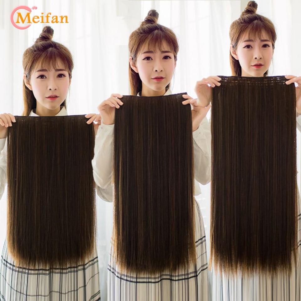MEIFAN Long Clip in One Piece Hair Extensions Natural Hair piece 3/4 Head False Hairpieces on Hairpin Headwear Hair Accessories