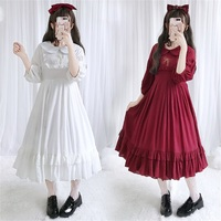 Elegant Mori Girl Vintage Embroidery Peter Pan Collar OP Dress Summer Japanese Kawaii Lolita Students Flouncing Dress Women