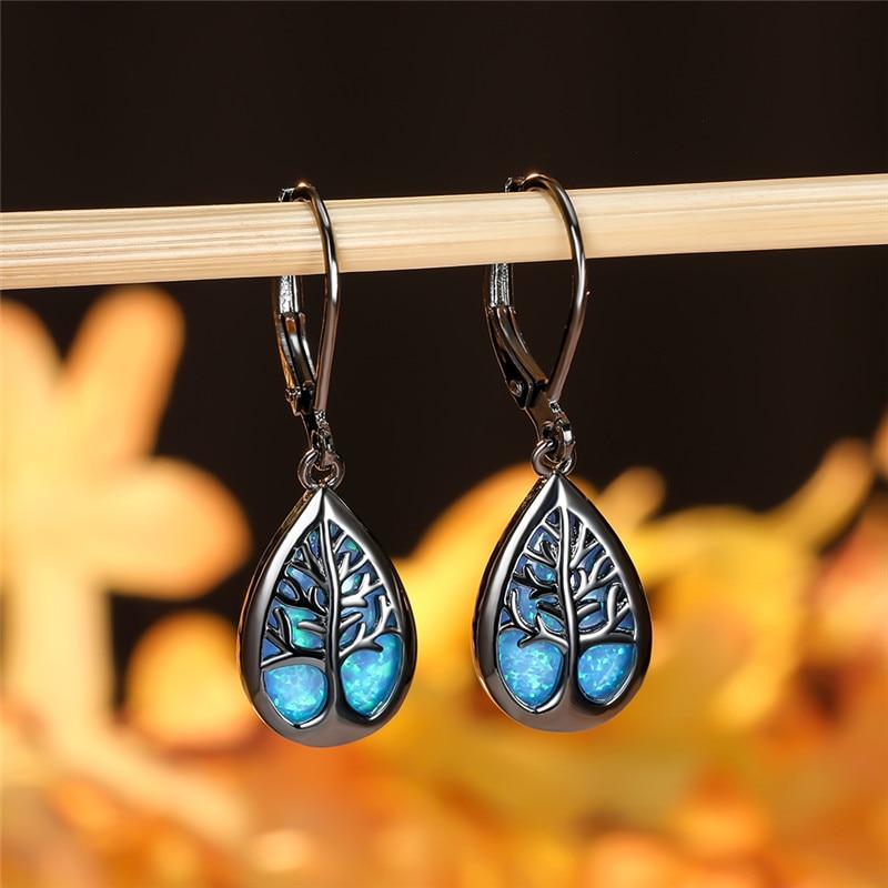Blue White Fire Opal Water Drop Earrings Cute Tree of Life Dangle Earrings For Women Vintage Fashion Black Gold Wedding Earrings
