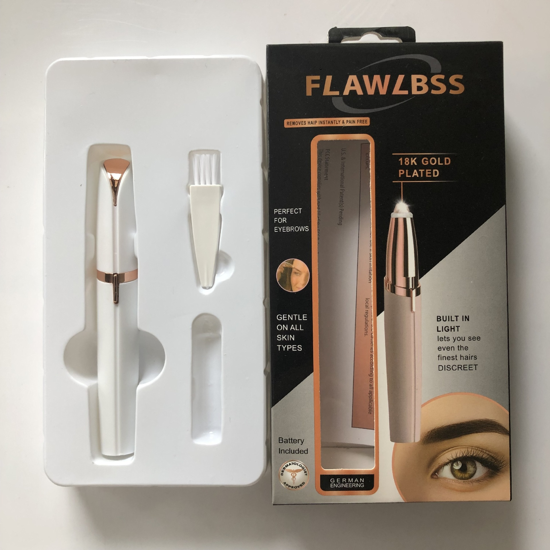Cross-Border TV New Flawless Brows Electric Lipstick Eye-brow Shaper Eyebrow Knife Lipstick Eyebrow Fixing Pen Lady Shaver